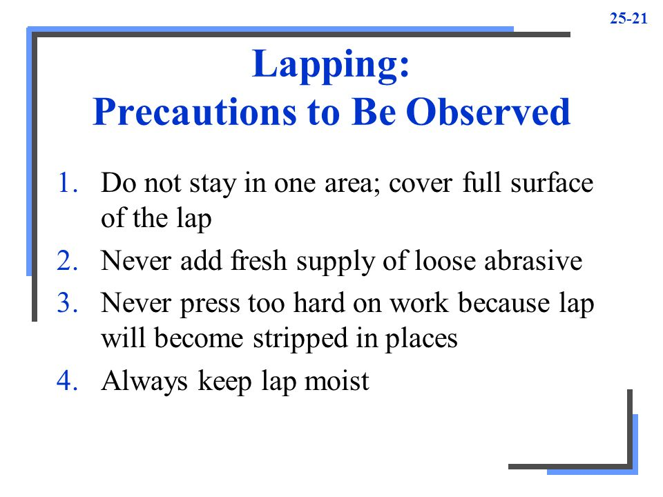 Lapping: Precautions to Be Observed