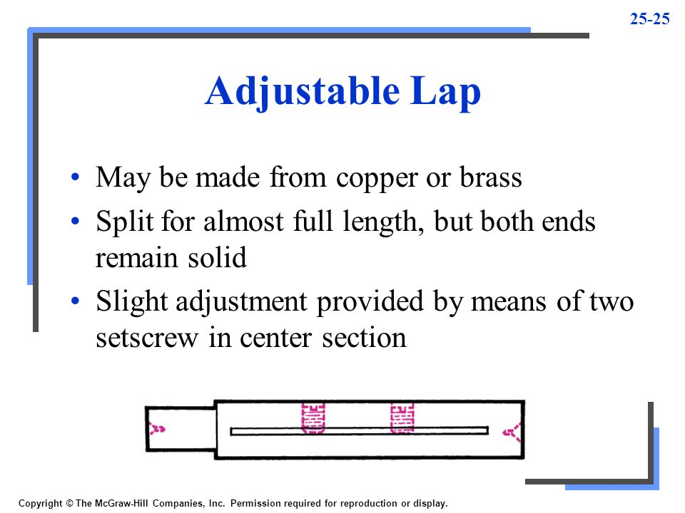 Adjustable Lap May be made from copper or brass