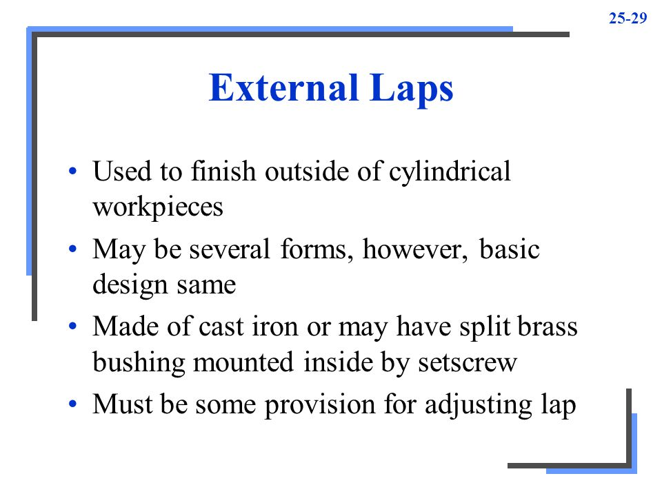 External Laps Used to finish outside of cylindrical workpieces