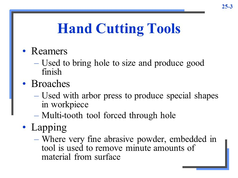 Hand Cutting Tools Reamers Broaches Lapping