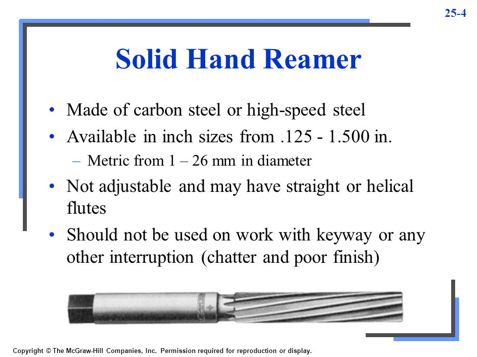 Solid Hand Reamer Made of carbon steel or high-speed steel