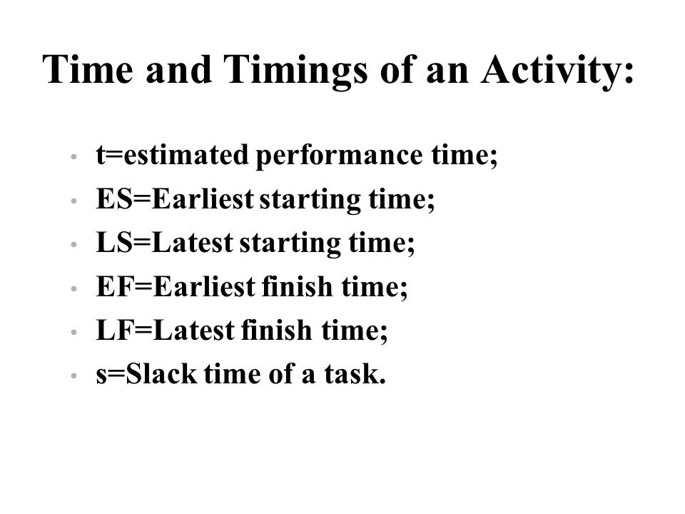 Time and Timings of an Activity: