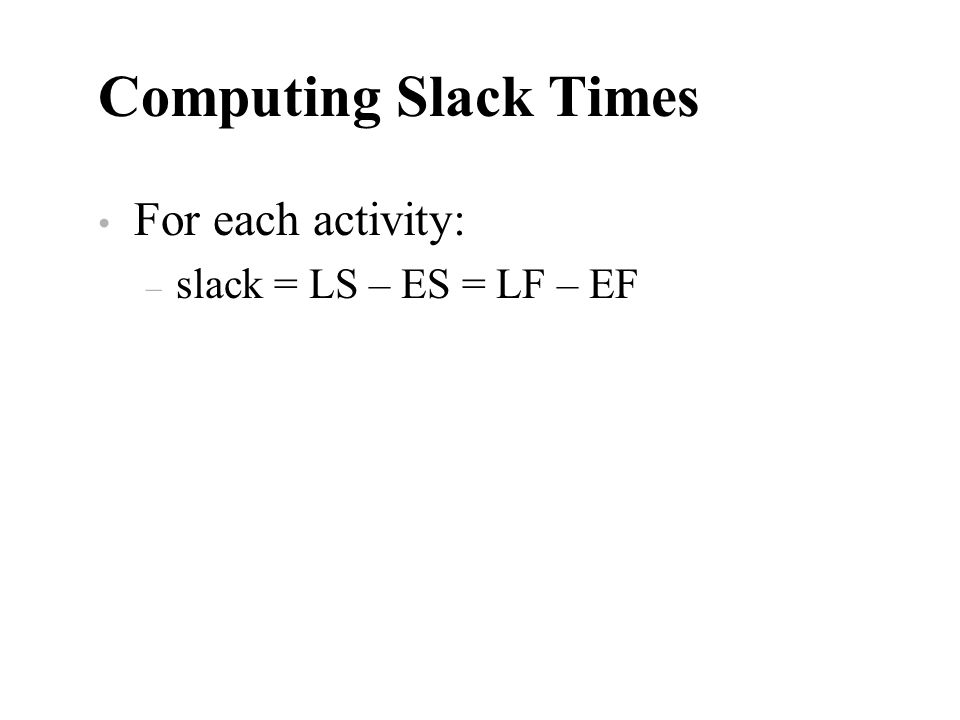 Computing Slack Times For each activity: slack = LS – ES = LF – EF
