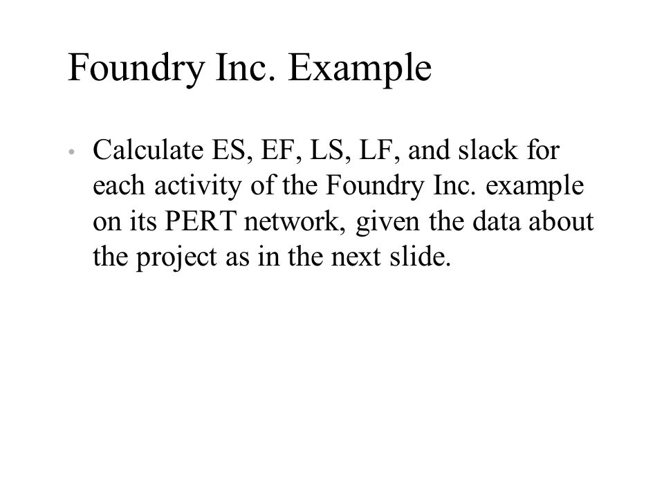Foundry Inc. Example