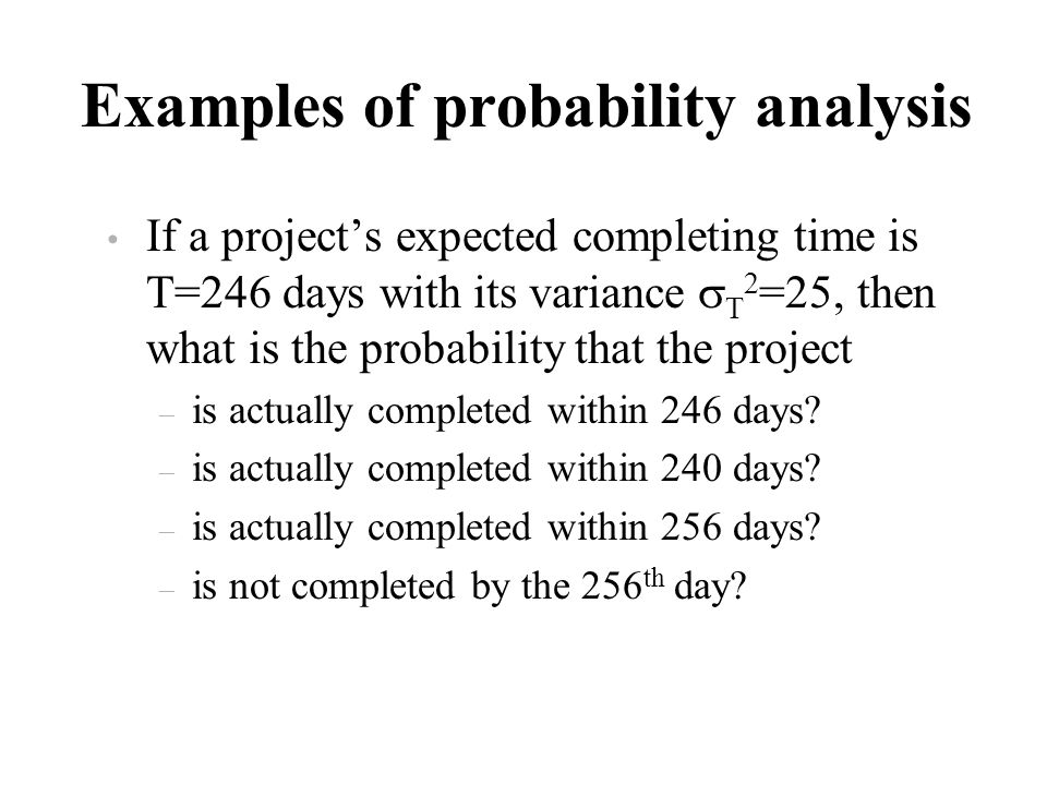 Examples of probability analysis