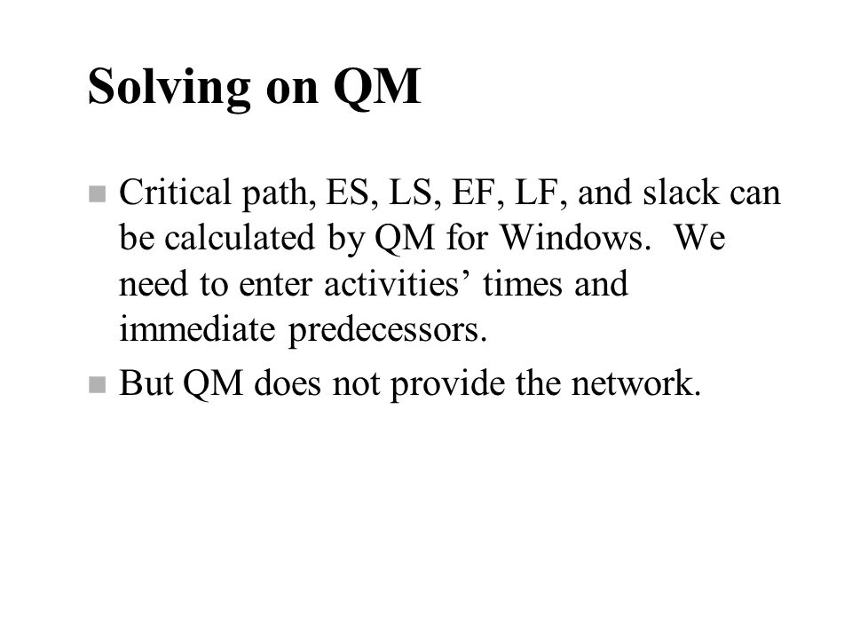 Solving on QM