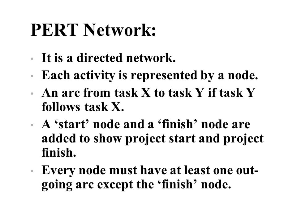 PERT Network: It is a directed network.