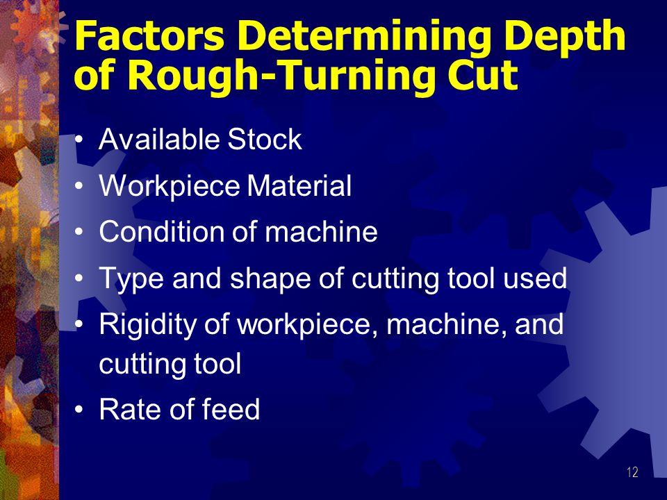 Factors Determining Depth of Rough-Turning Cut