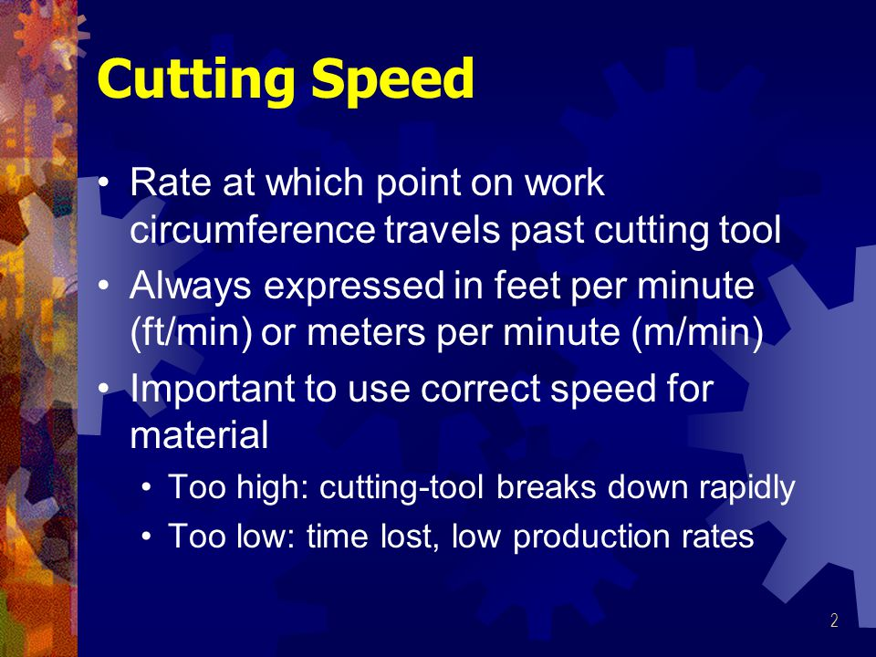 Cutting Speed Rate at which point on work circumference travels past cutting tool.