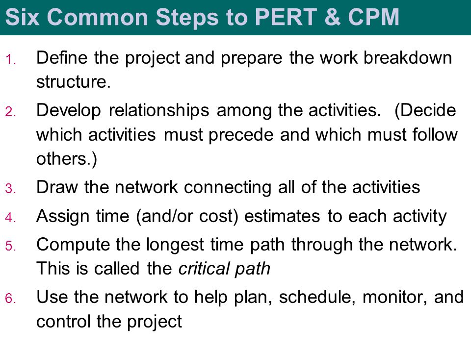 Six Common Steps to PERT & CPM
