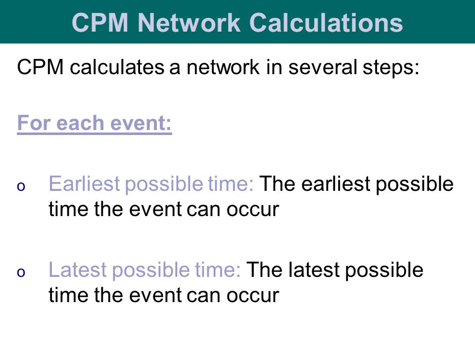 CPM Network Calculations