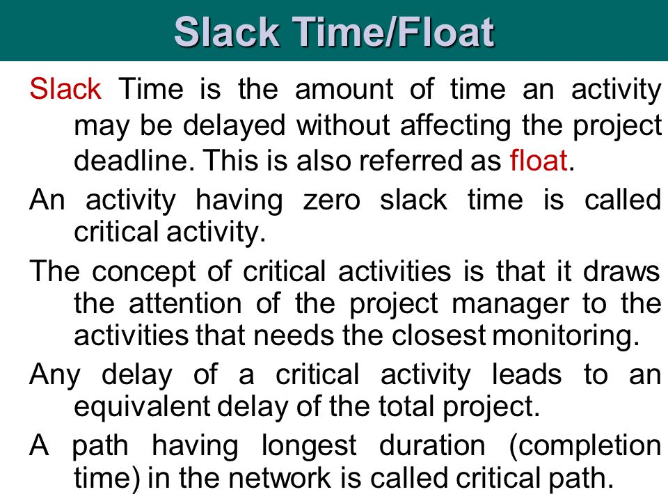 Slack Time/Float
