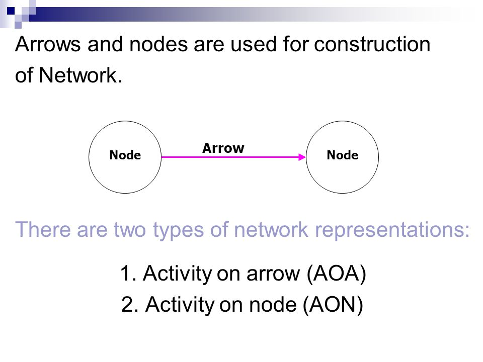 Arrows and nodes are used for construction of Network