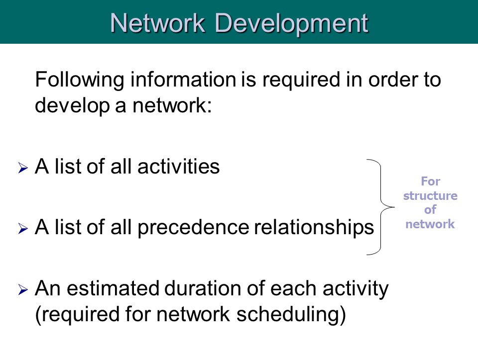 For structure of network