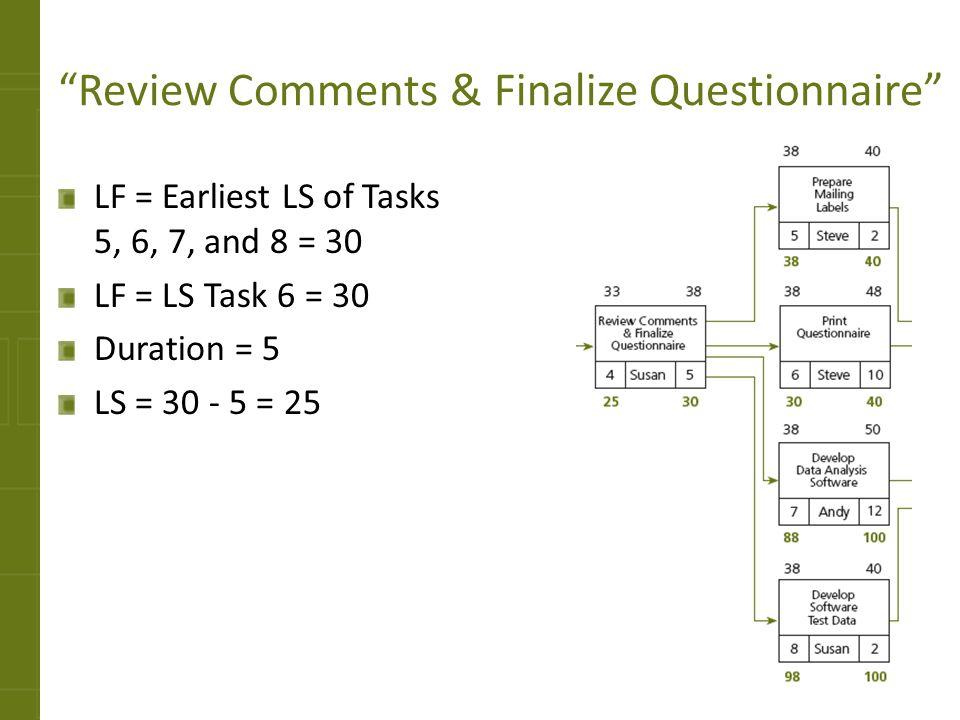 Review Comments & Finalize Questionnaire