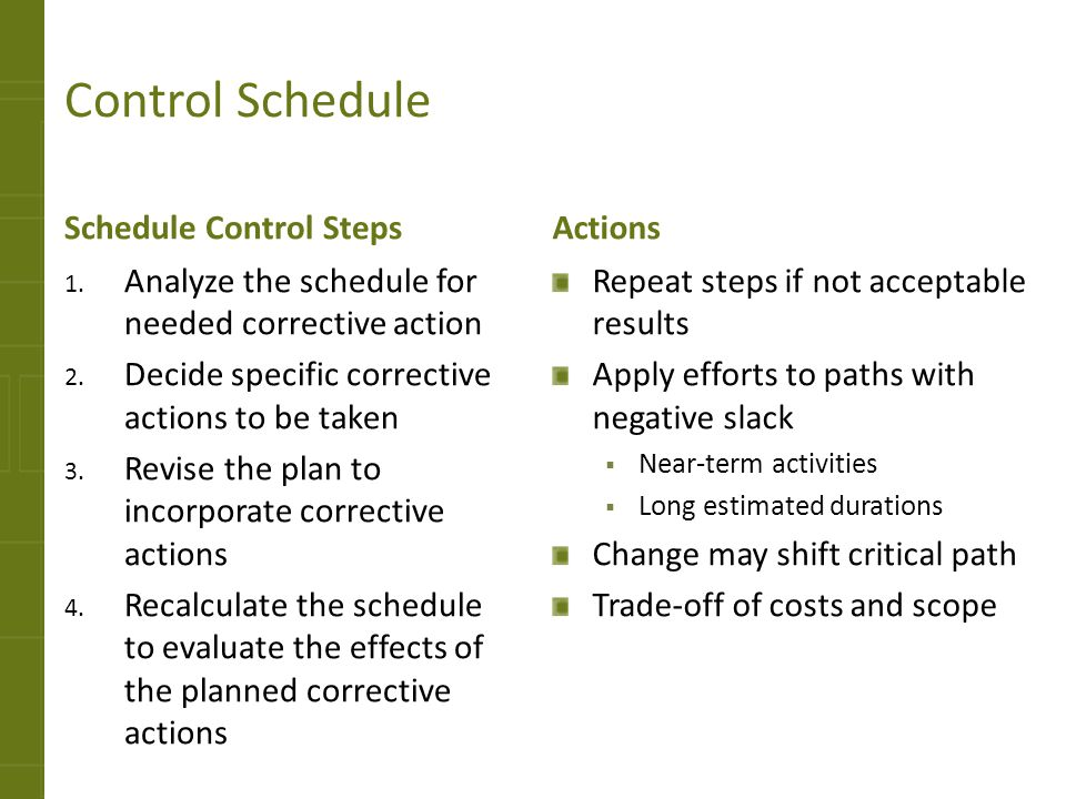 Control Schedule Schedule Control Steps Actions