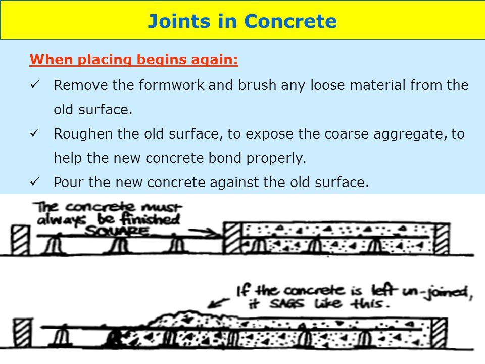 Joints in Concrete When placing begins again: