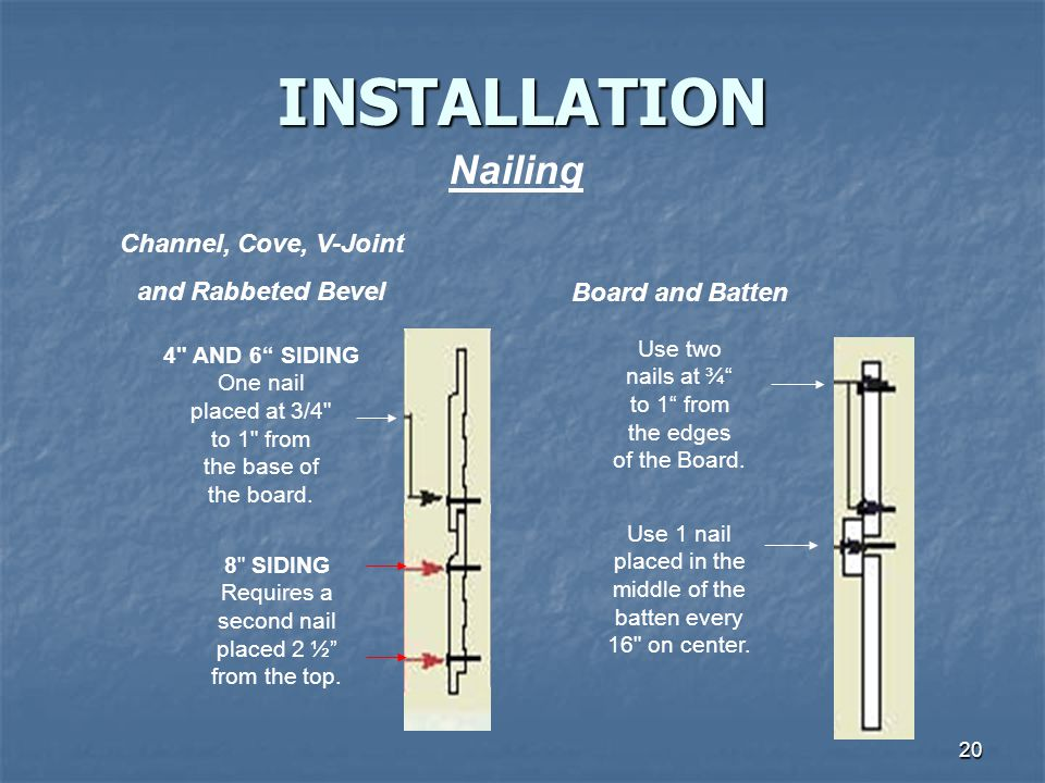 INSTALLATION Nailing Channel, Cove, V-Joint and Rabbeted Bevel