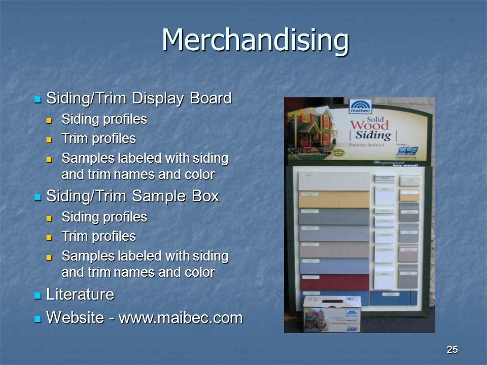 Merchandising Siding/Trim Display Board Siding/Trim Sample Box