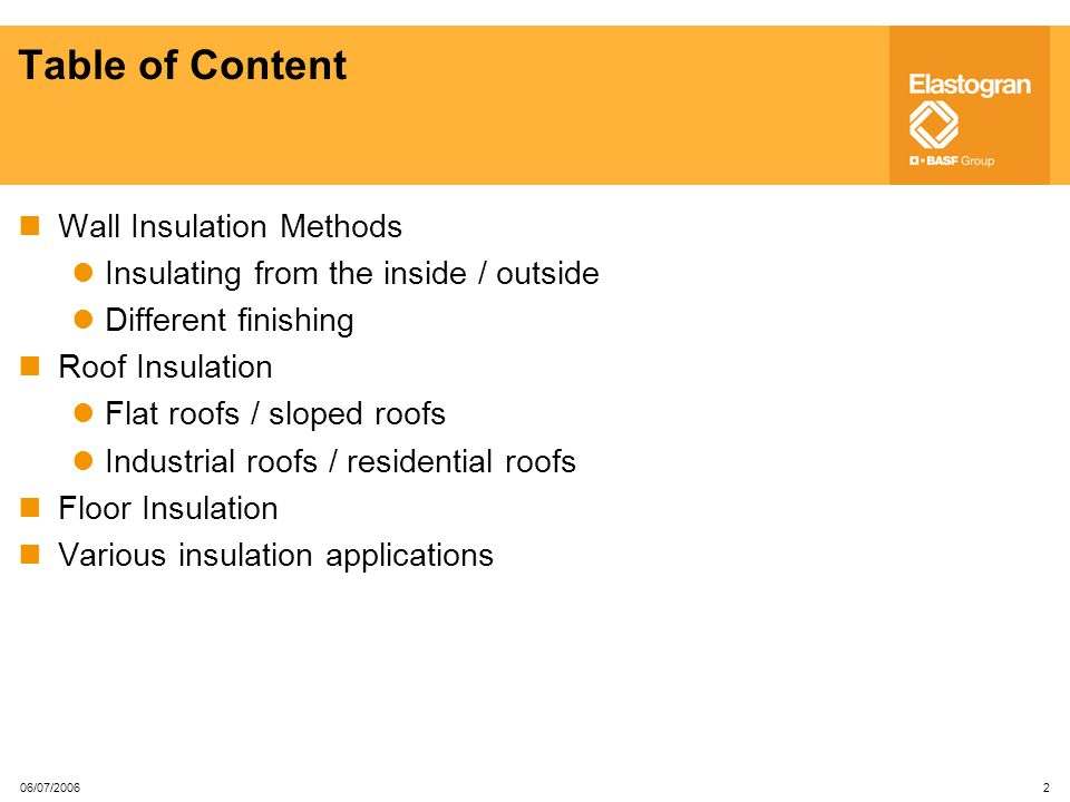 Table of Content Wall Insulation Methods