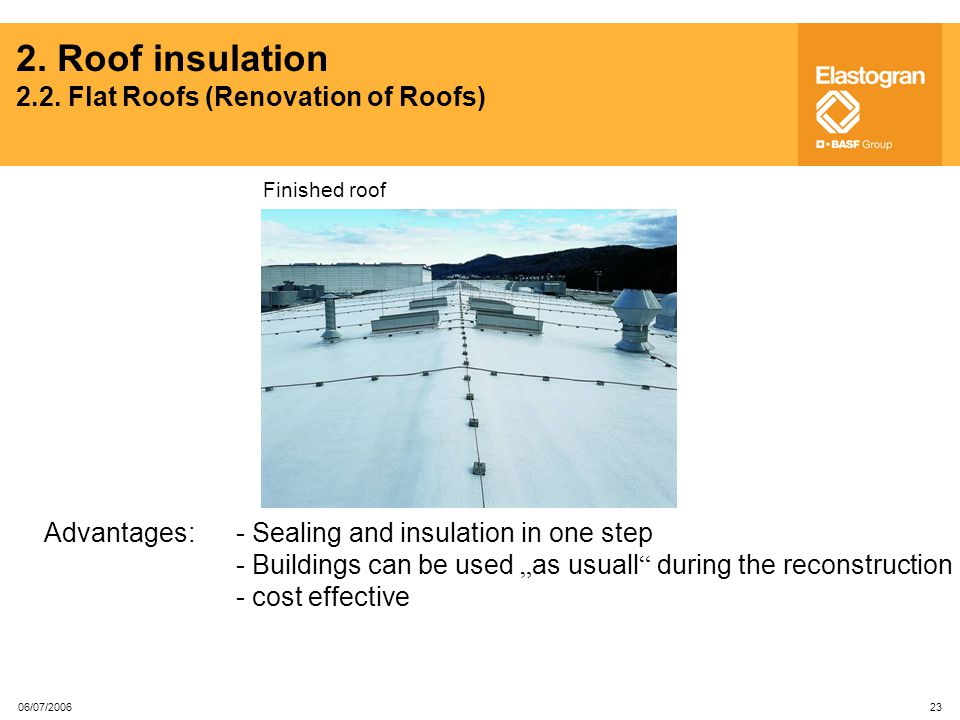 2. Roof insulation 2.2. Flat Roofs (Renovation of Roofs)