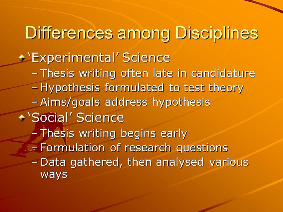 Differences among Disciplines