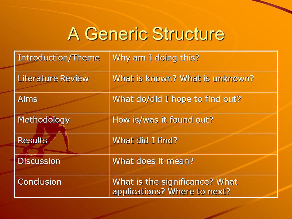 A Generic Structure Introduction/Theme Why am I doing this