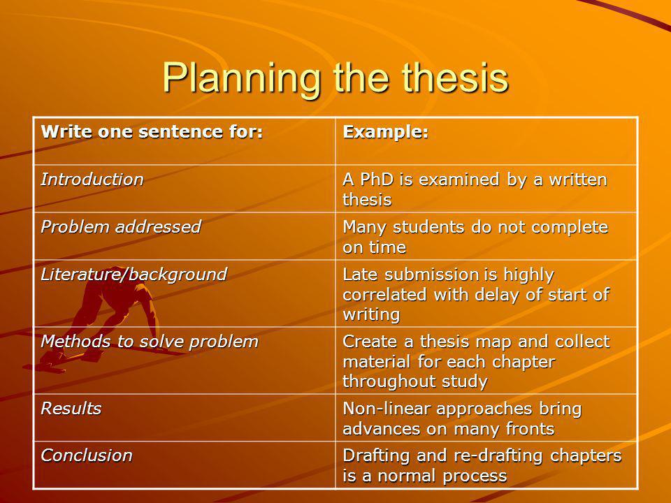 Planning the thesis Write one sentence for: Example: Introduction
