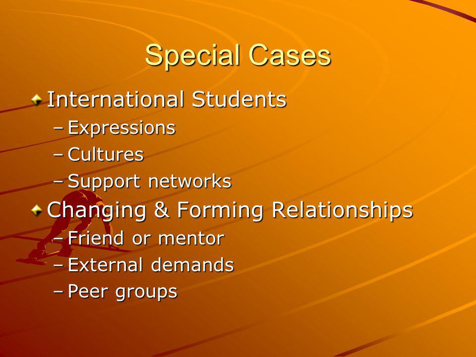 Special Cases International Students Changing & Forming Relationships