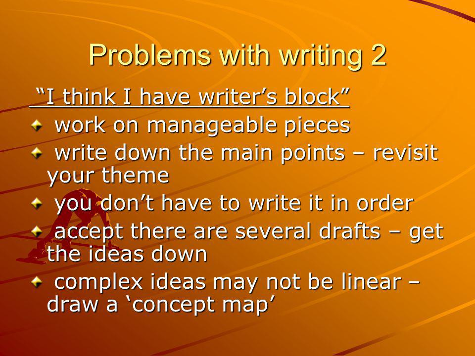 Problems with writing 2 I think I have writer's block
