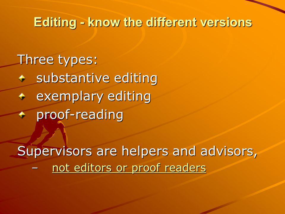Editing - know the different versions