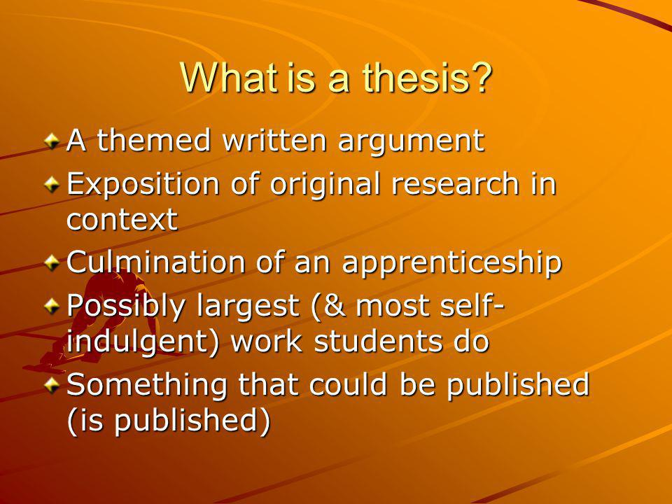 What is a thesis A themed written argument