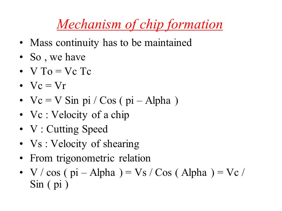 Mechanism of chip formation