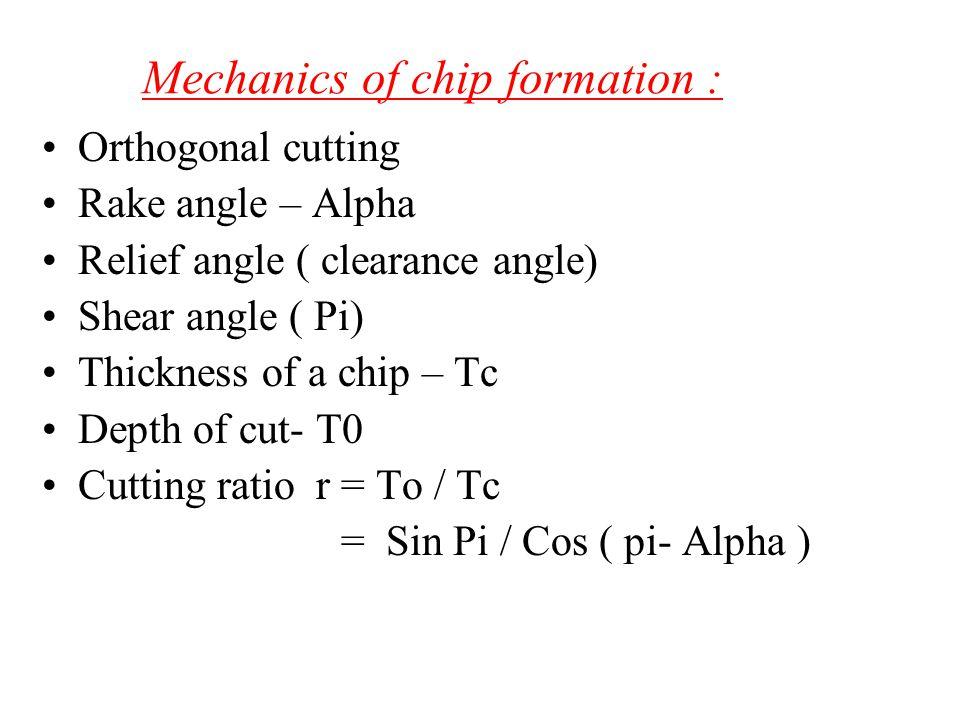 Mechanics of chip formation :