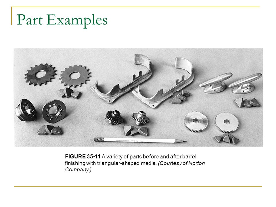 Part Examples FIGURE 35-11 A variety of parts before and after barrel