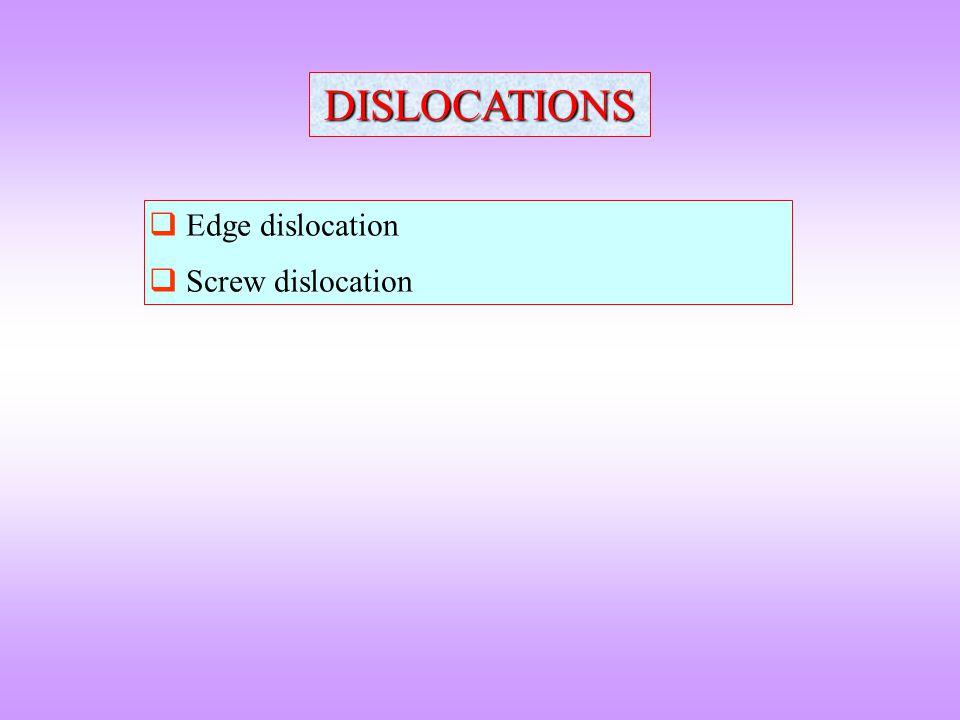 DISLOCATIONS Edge dislocation Screw dislocation