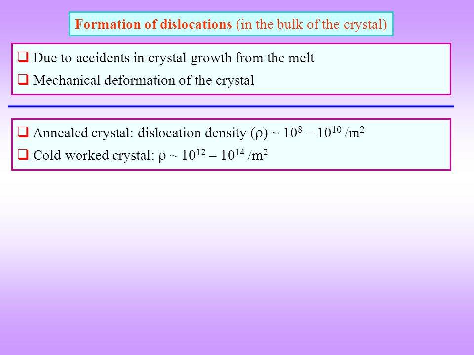 Formation of dislocations (in the bulk of the crystal)