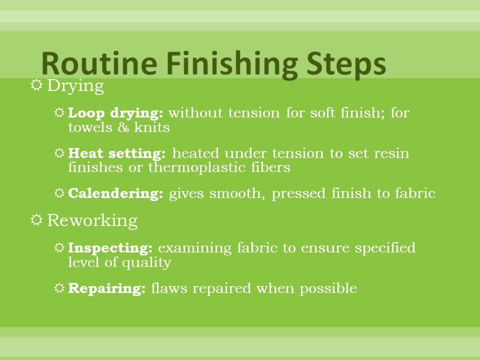 Routine Finishing Steps