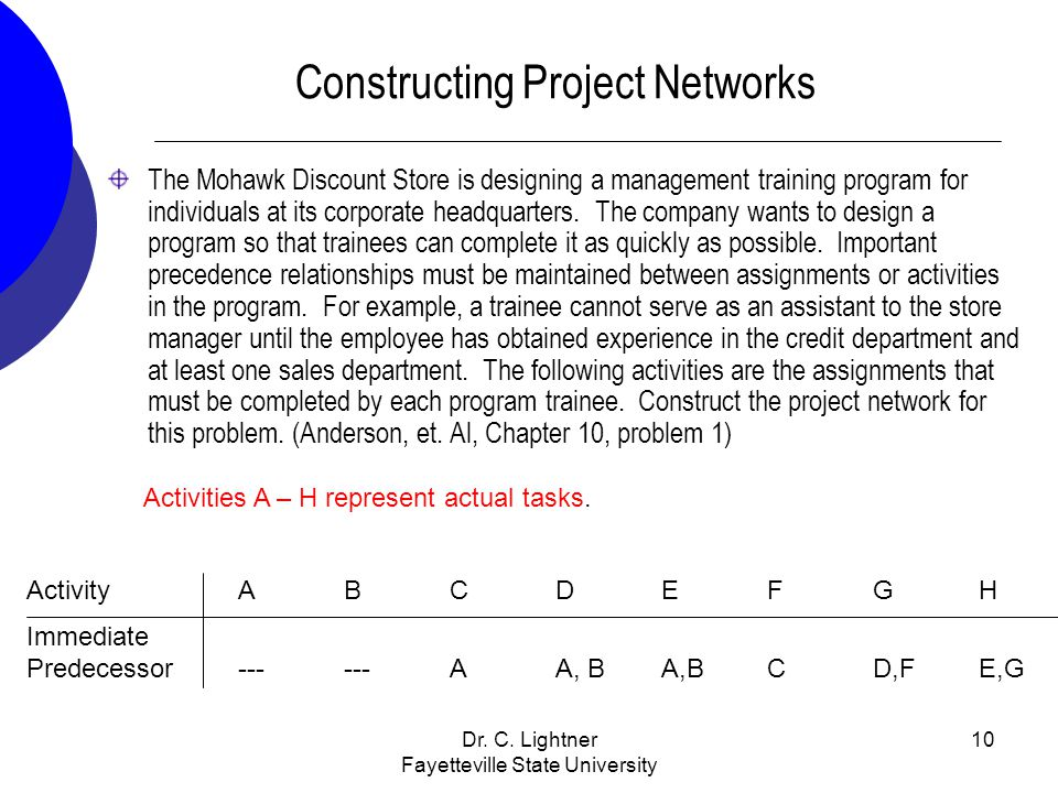 Constructing Project Networks