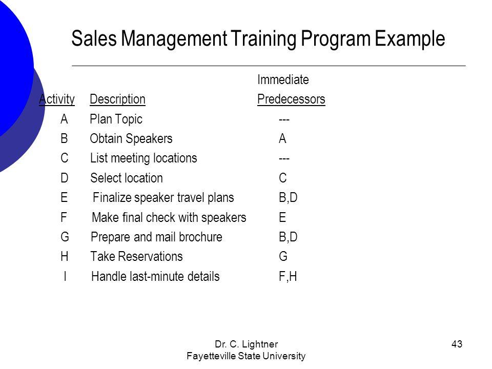Sales Management Training Program Example