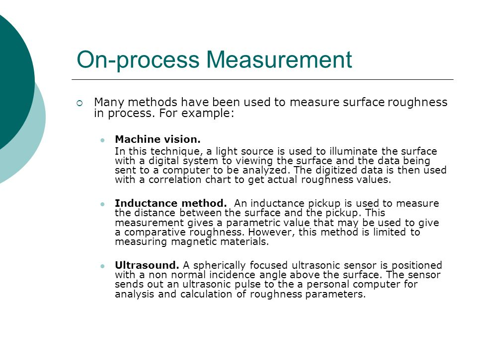 On-process Measurement