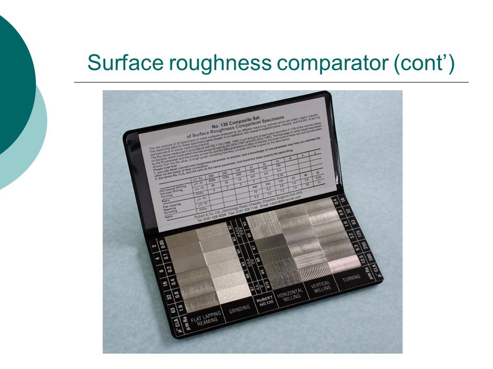 Surface roughness comparator (cont')
