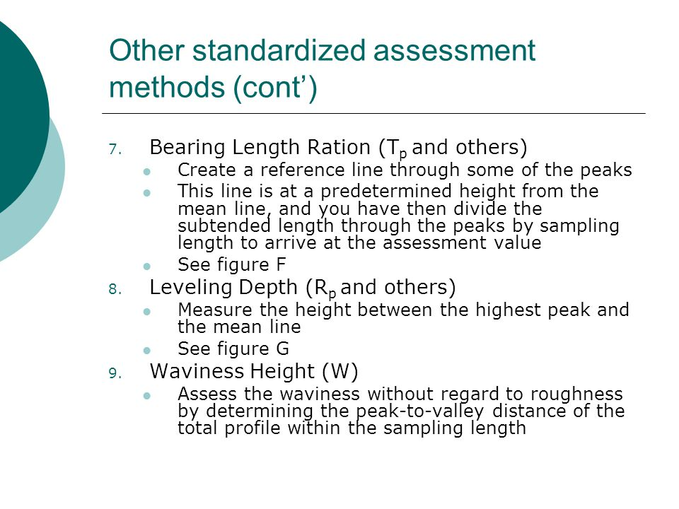 Other standardized assessment methods (cont')
