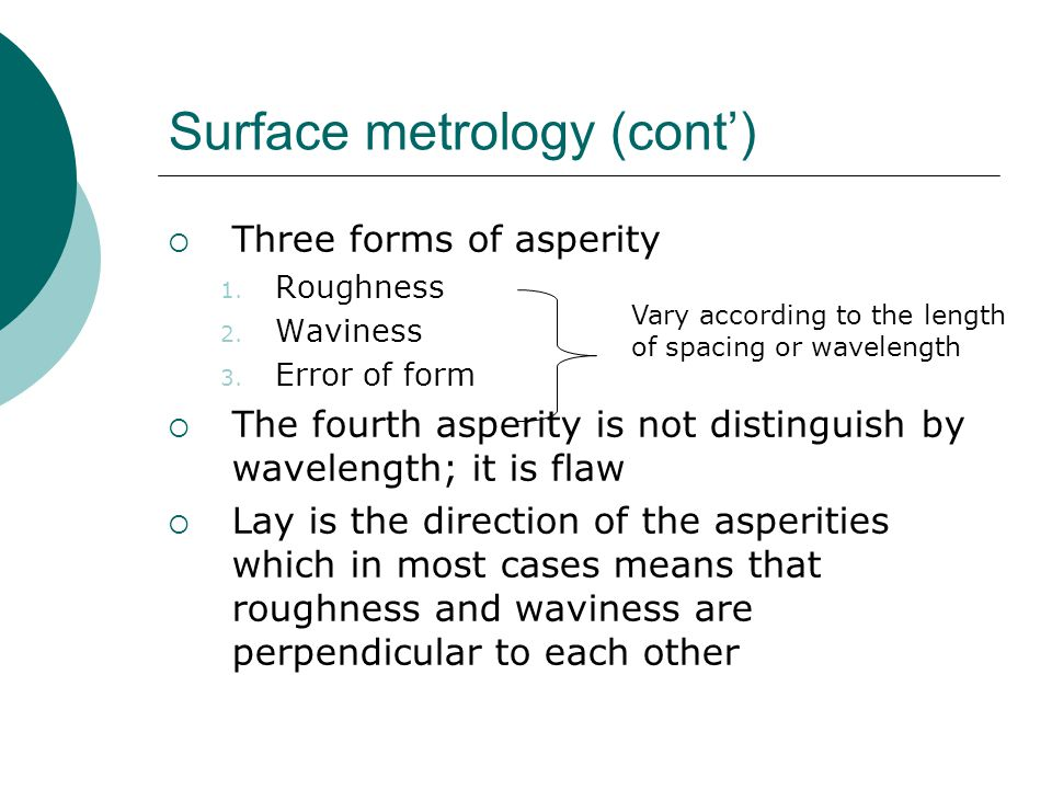 Surface metrology (cont')