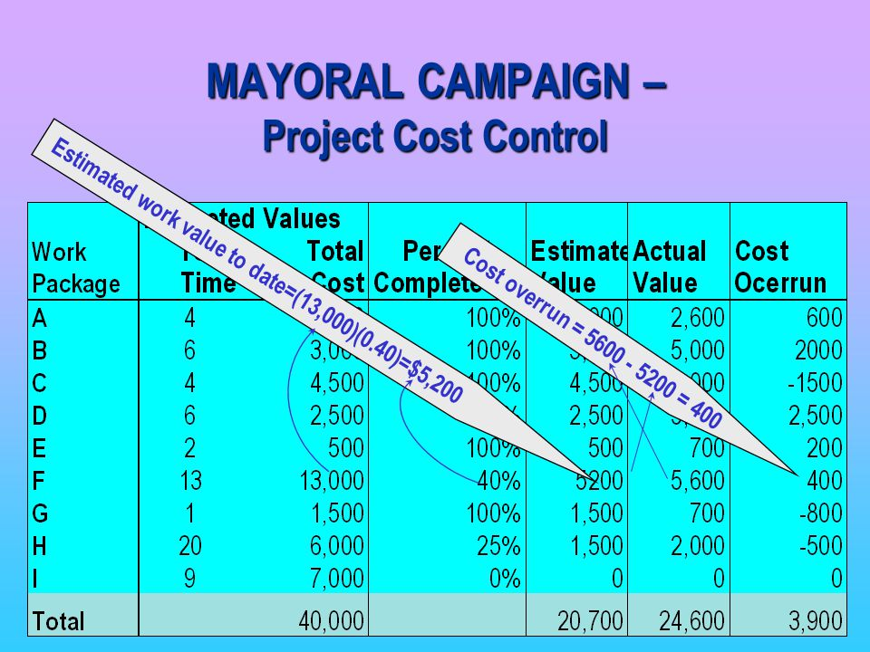 MAYORAL CAMPAIGN – Project Cost Control
