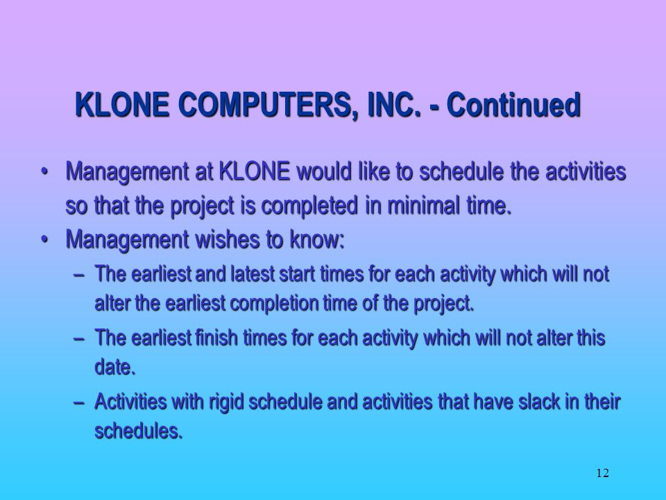 KLONE COMPUTERS, INC. - Continued