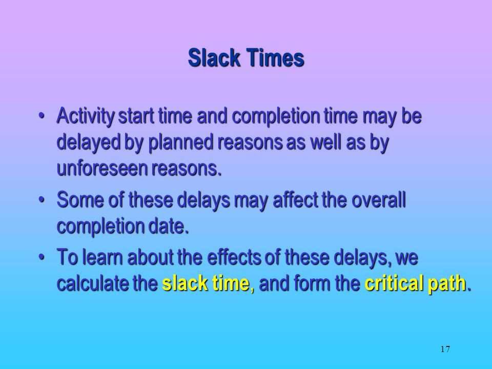 Slack Times Activity start time and completion time may be delayed by planned reasons as well as by unforeseen reasons.