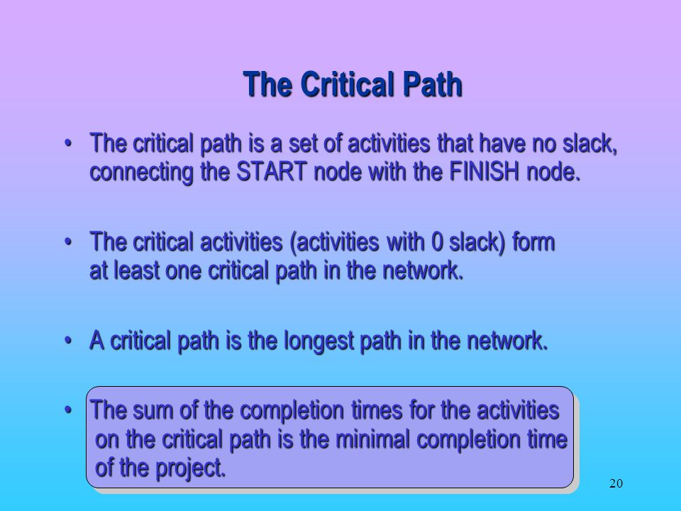 The Critical Path The critical path is a set of activities that have no slack, connecting the START node with the FINISH node.
