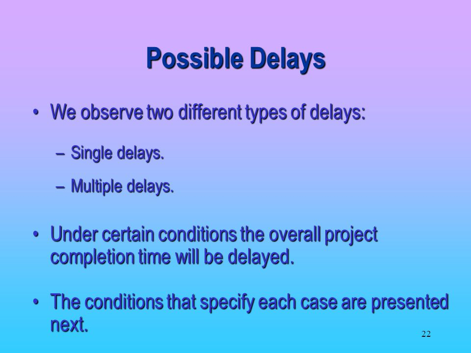 Possible Delays We observe two different types of delays: