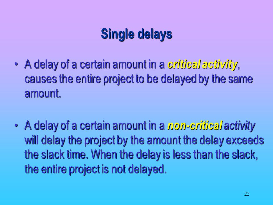 Single delays A delay of a certain amount in a critical activity, causes the entire project to be delayed by the same amount.
